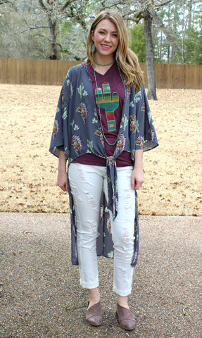 Free As Can Be Indian and Cactus Print Front Tie Kimono