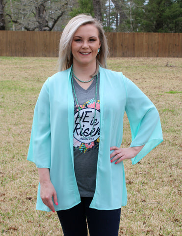Just As I Am Solid Kimono in Mint