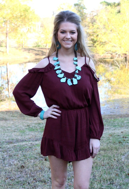 Had Me Smitten Maroon Cold Shoulder Romper
