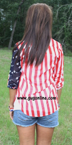 Independence Day Button Up Sheer Top