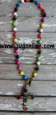 Multi Color Crystals on Multi Color Chain Necklace