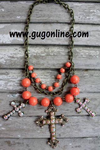 Coral and Gold Cross Necklace