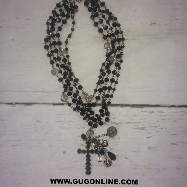 Black Crystals on Bronze Chain with Cross and Crystal pendents Charm Necklace