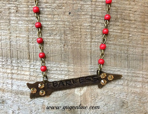 Fearless Crystal Arrow Charm on Red and Bronze Chain Necklace