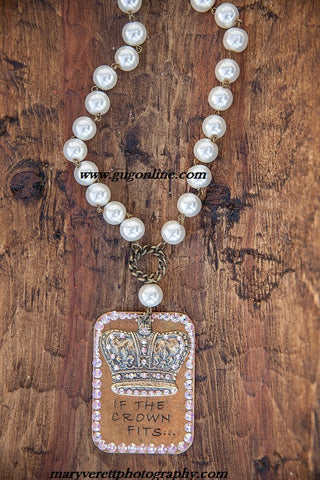 AB Crystals on If The Crown Fits Pendant on Pearl and Chain Necklace