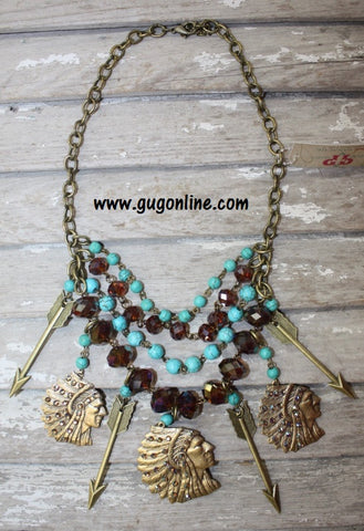 Bronze Indian Heads and Arrows on Turquoise and Brown Chain necklace