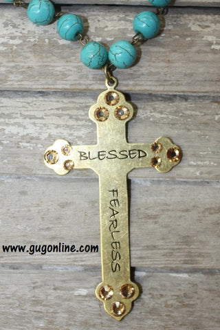 Blessed Fearless Bronze Cross on Turquoise and Topaz Necklace