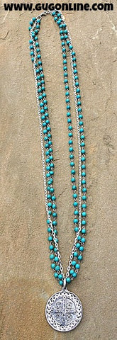Clear Crystal and Silver Coin on Turquoise and Chain Necklace