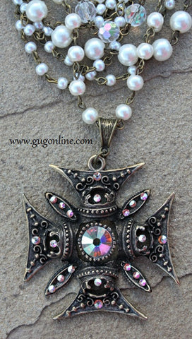 AB Crystal Chopper Cross on Layers of Pearl and Chain Necklace