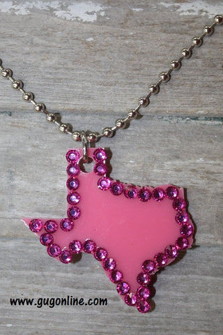 Hot Pink Crystal Texas on Silver Ball Chain