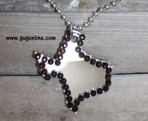 Maroon Crystals on Silver Texas on Silver Ball Chain