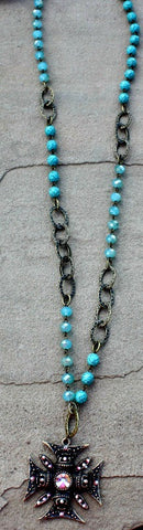 AB Crystal Chopper Cross on Turquoise and Chain Necklace