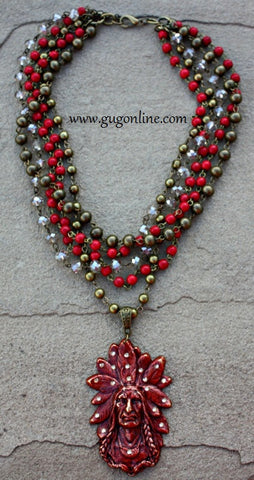 Red Indian Head with Topaz Crystals on Red and Chain Layers Necklace