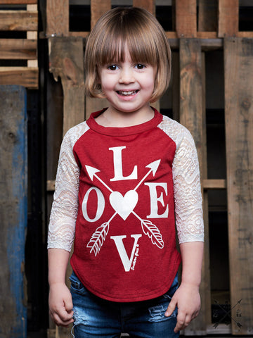 Childrens: LOVE Baseball Tee with Glitter Lace Sleeves