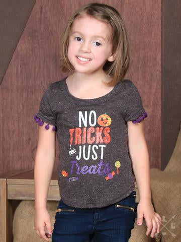 Children: No Tricks Just Treats Short Sleeve Tee with Pom Trim