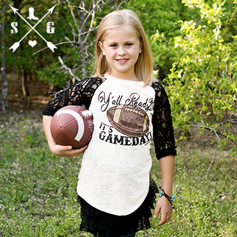 Kids Y'all Ready? It's Gameday Football White Baseball Tee