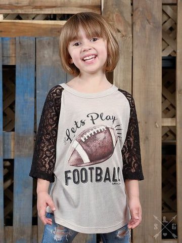 Children: Let's Play Football Baseball Tee with Black Crochet Sleeves