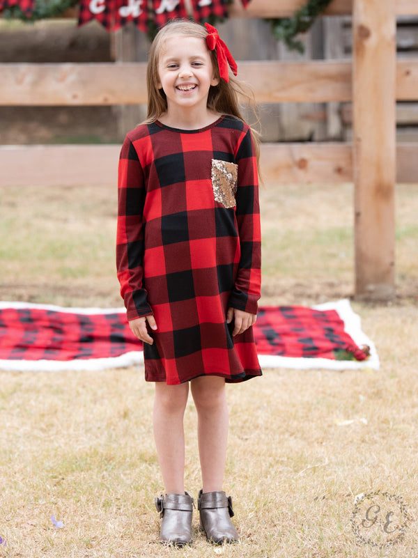 Children's | Making Spirits Bright Buffalo Plaid Print Dress with Sequin Pocket in Red