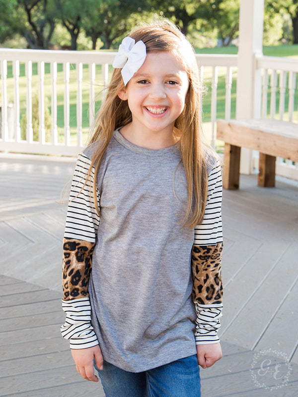 Children's | Taking It Easy Leopard & Stripe Long Sleeve Top in Heather Grey