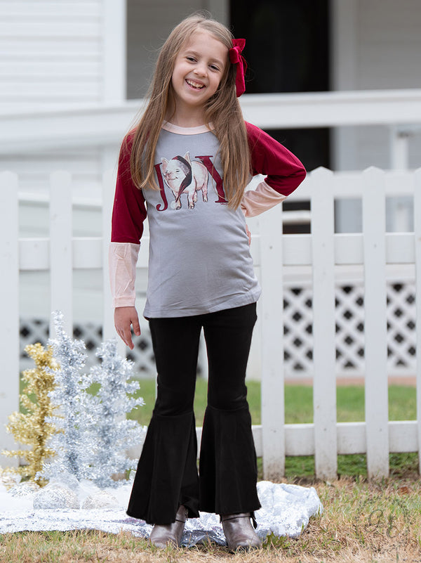 Children's | Groovy Girl Velvet Bell Bottom Flare Pants in Black