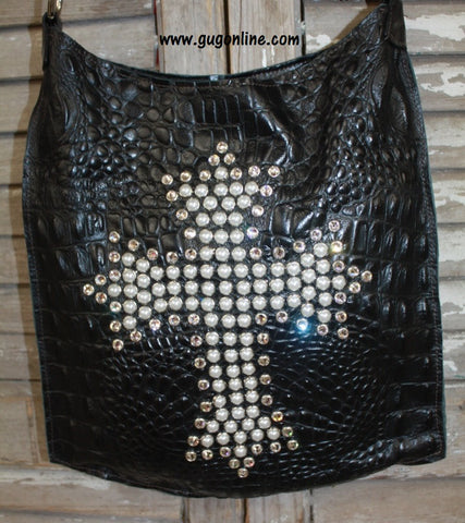 KurtMen Designs Mini Me Black Crocodile Hide With Pearl and Clear Crystal Cross