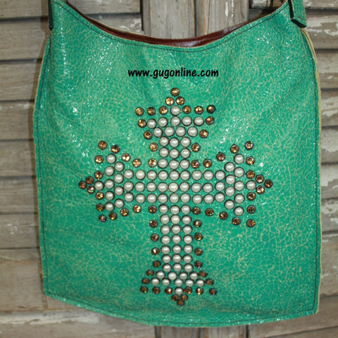 KurtMen Designs Mini Me Lt. Colorado Turquoise Crackle Hide With Pearl and Brown Crystal Cross