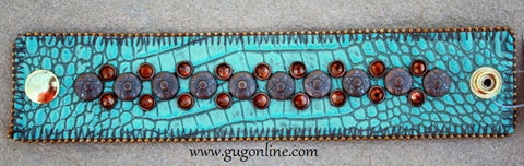 KurtMen Designs Leather Cuff Bracelet-Turquoise Tooled Leather with Bronze and Brown Crystal Studs