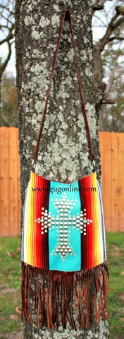 KurtMen Designs Cross Body Aqua Serape, Silver Star Studded Cross and Clear Crystals, Brown Fringe and Brown Back Purse