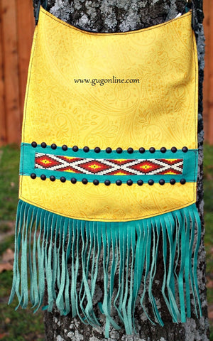 KurtMen Designs Cross Body Yellow Tooled, Ivory and Turquoise Beaded Design and Silver Studs, Turquoise Fringe and Yellow Tooled Back Purse