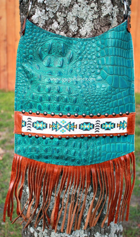 KurtMen Designs Cross Body Turquoise Croc, White and Brown Beaded Design and Silver Studs, Brown Fringe Purse