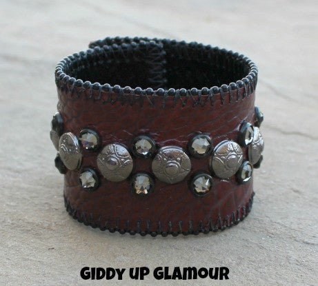 KurtMen Designs Maroon Croc Cuff with Gun Metal Studs and Crystals
