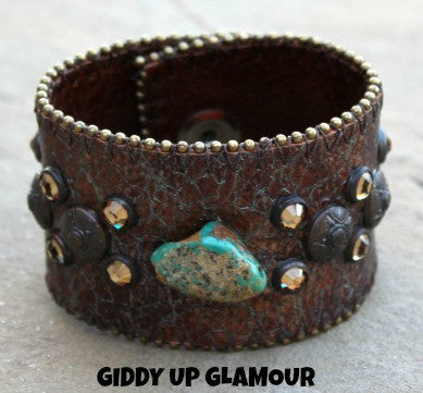 KurtMen Designs Metallic Brown Crackle Leather Cuff with Turquoise Stone, Bronze Studs and Crystals