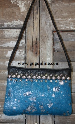 KurtMen Designs OL Blue Acid Washed With Silver Hide with Clear Swarvorski Crystals