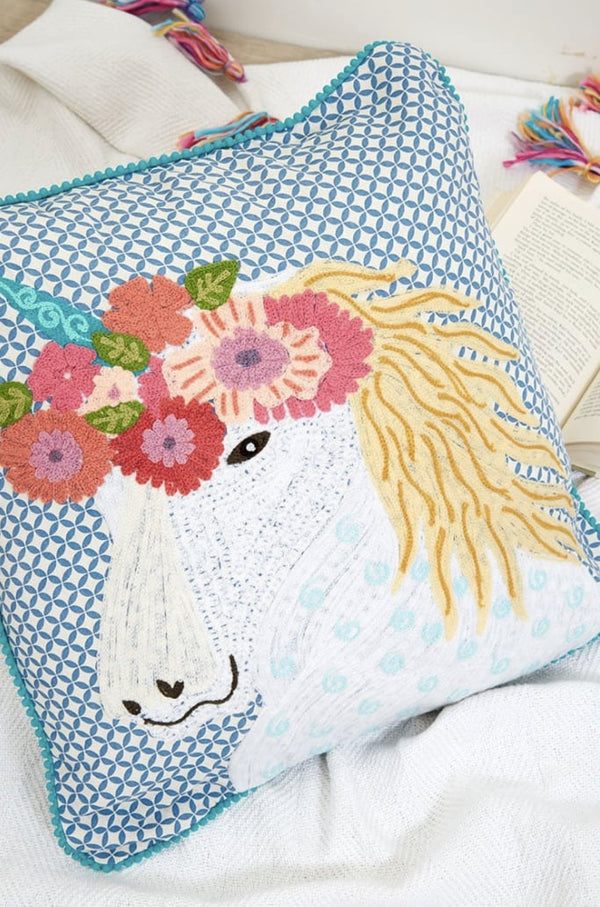 karma living unicorn embroidery 100% cotton pillow