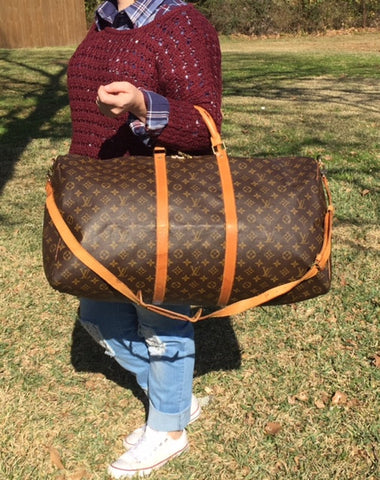 Authentic Used Louis Vuitton Keepall 60 Monogram Large Duffle Bag with Shoulder Strap and Lock and Key
