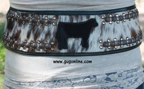 KurtMen Designs Brown and White Hide with Black Show Steers Belt