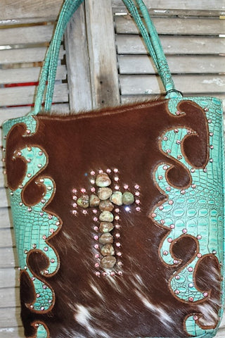 KurtMen Designs Large Brown Hair on Hide with Turquoise and Brown Hand Tooled Leather with Large Turqouise Cross