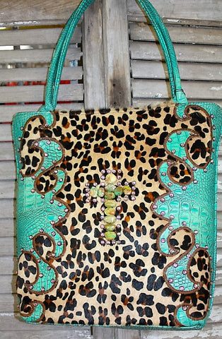 KurtMen Designs Large Leopard Hair on Hide with Turquoise and Brown Hand Tooled Leather with Large Turqouise Cross