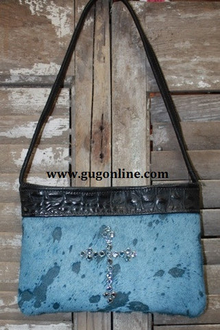 KurtMen Designs OL Blue Acid Washed With Blue Hide with Light Blue Swarvorski Crystal Cross