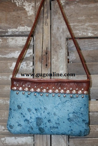 KurtMen Designs OL Blue Acid Washed With Blue Hide with Brown Leather Top Band