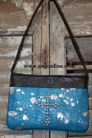 KurtMen Designs OL Blue Acid Washed With Silver Hair on Hide with Silver Studded Cross