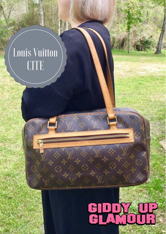 Authentic Used Louis Vuitton Cite GM Shoulder Bag in Monogram
