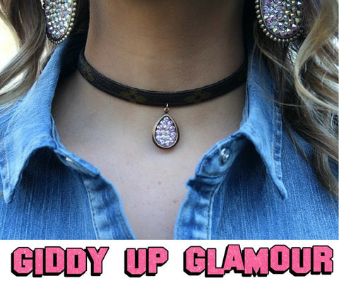 Authentic LV Upcycled Choker with Pink Panache Teardrop
