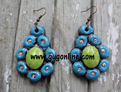 La Cruz Turquoise and Lime Earring