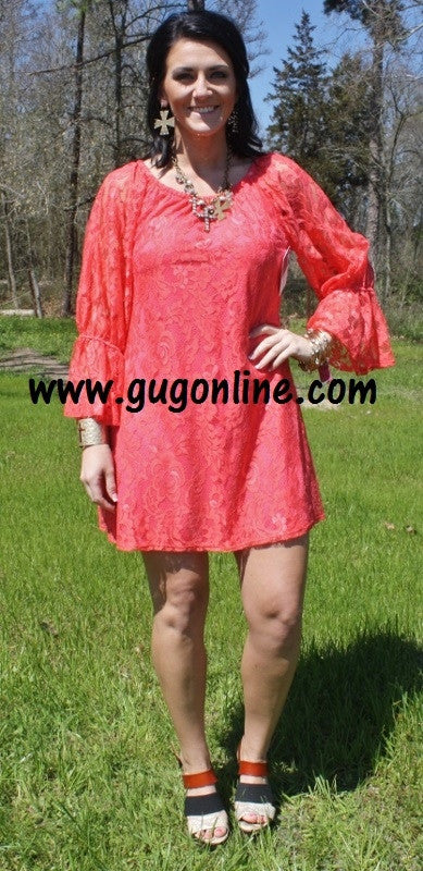 Lace the Facts Dress Coral Size Small