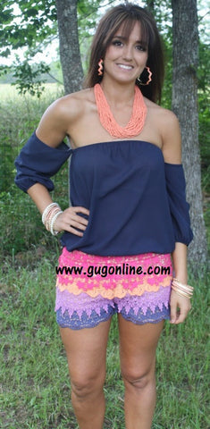 Lay it On Lace Ruffle Shorts in Multi Colors