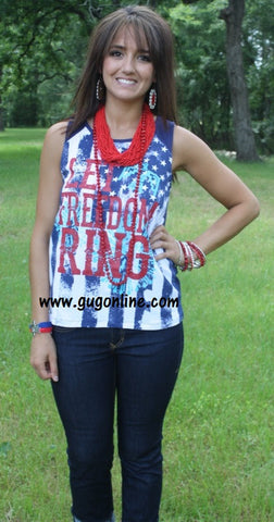 Let Freedom Ring Navy Aztec Tank