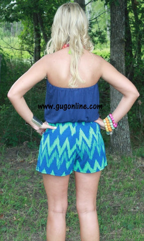 Let the Night Roll Chevron Romper in Navy and Mint