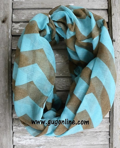 Light Blue and Brown Chevron Infinity Scarf