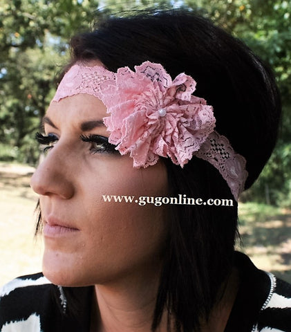 Light Pink Lace Headband with Light Pink Lace Flower